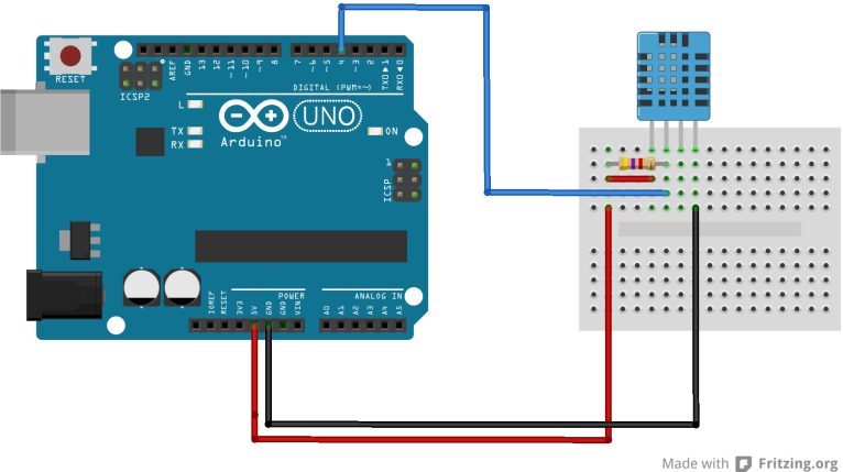 Arduino and DHT11 connections