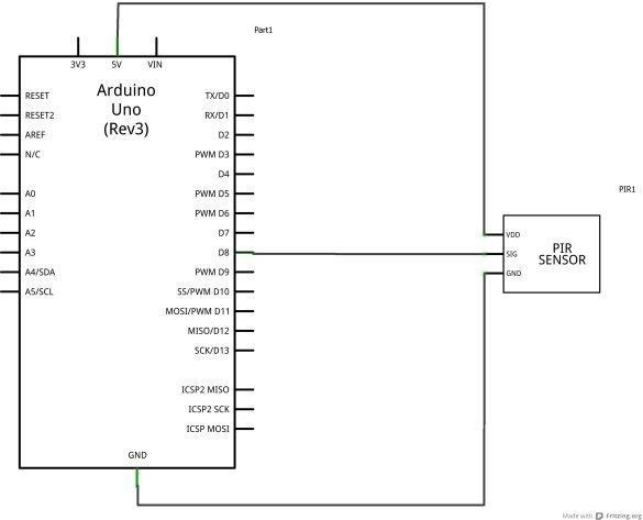 arduino and PIR schematic