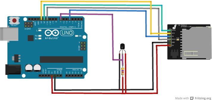 arduino and sdcard and ds18b20