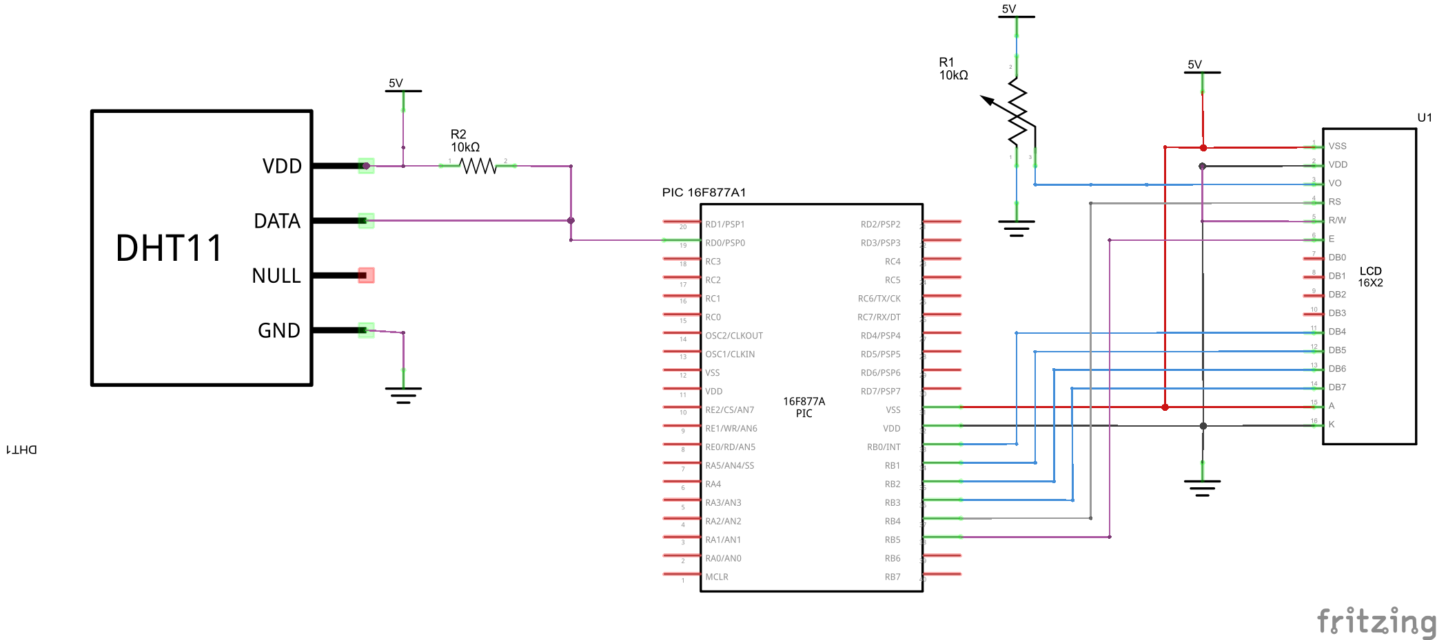 PIC16F877 and DHT11 schematic
