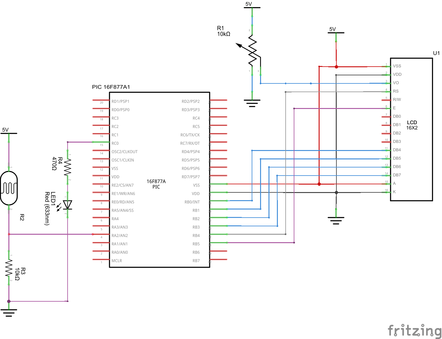 Pic16f877 And Ldr Warning Example Get Micros Displayport Schematic Led