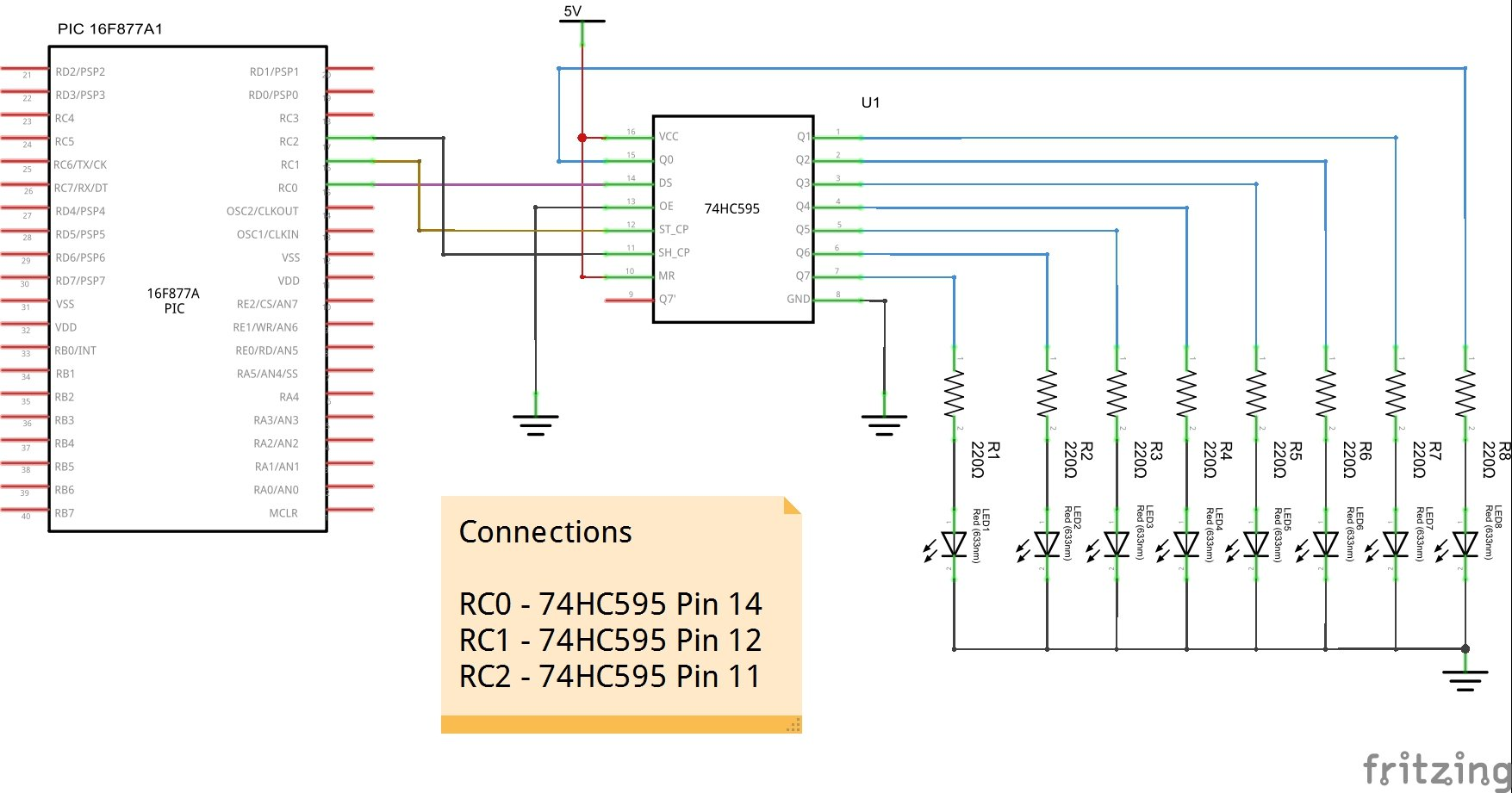 PIC16F877 and 595 shift register_schem