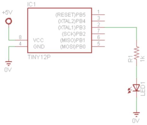 attiny85 Basic LED