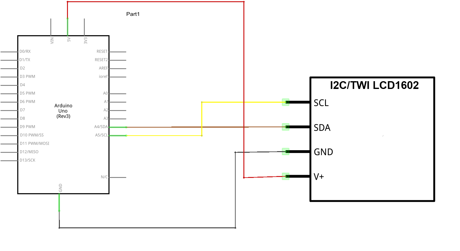 arduino and i2c 1602 serial lcd example