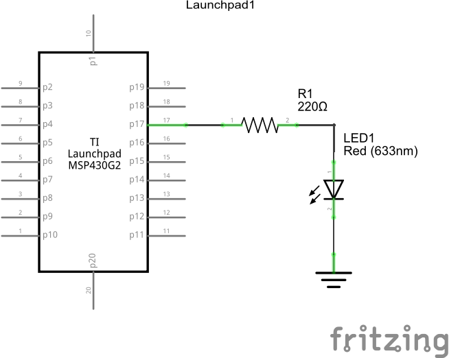 msp430g2 and led example