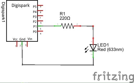 Digispark LED schematic