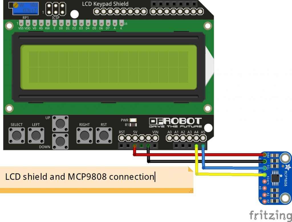 arduino lcd shield and mcp9808