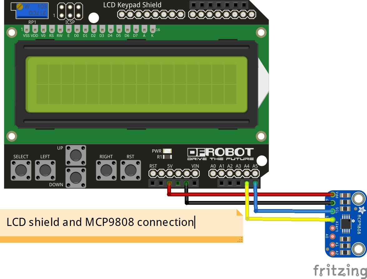 MCP9808 sensor and LCD keypad shield Arduino example | Get micros